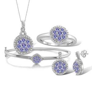 JewelonFire 1.75 Carat T.G.W. Tanzanite And 1/10 Carat T.W. White Diamond Sterling Silver 4 Piece Jewelry Set - Assorted Colors