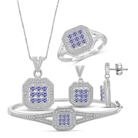 JewelonFire 1.80 Carat T.G.W. Tanzanite And 1/7 Carat T.W. White Diamond Sterling Silver 4 Piece Jewelry Set - Assorted Colors