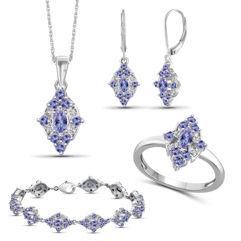 JewelonFire 8.40 Carat T.G.W. Tanzanite And 1/20 Carat T.W. White Diamond Sterling Silver 4 Piece Jewelry Set - Assorted Colors