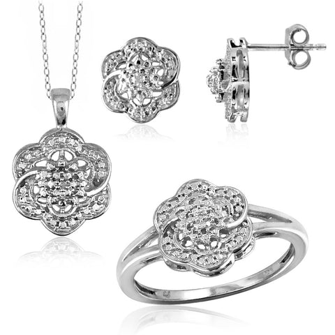 JewelonFire Genuine Accent White Diamond Sterling Silver 3 Piece Flower Jewelry Set - Assorted Colors