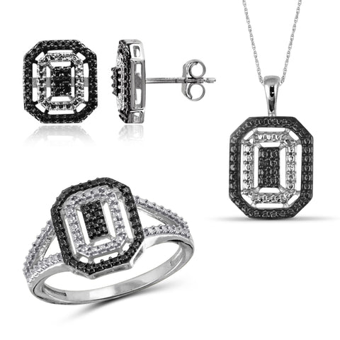 JewelersClub Accent Black Diamond Sterling Silver 3 Piece Octagon Jewelry Set