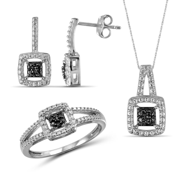 JewelersClub Accent Black Diamond Sterling Silver 3 Piece Square Shape Jewelry Set