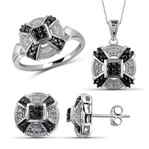 JewelersClub 1/4 Carat T.W. Black And White Diamond Sterling Silver 3 Piece Jewelry Set