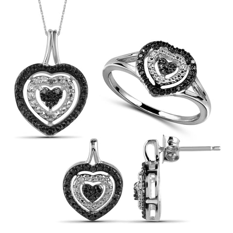 JewelersClub 1/10 Carat T.W. Black And White Diamond Sterling Silver 3 Piece Heart Jewelry Set