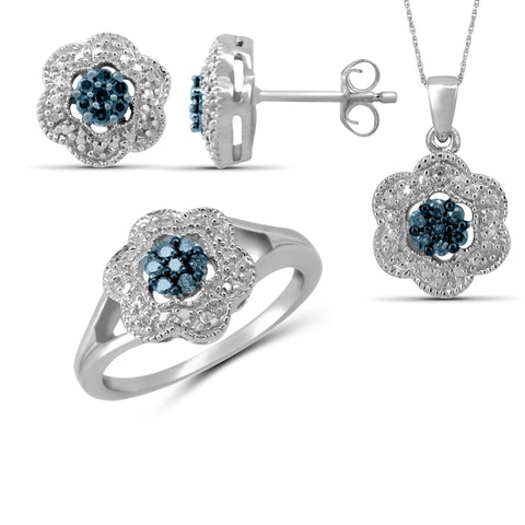 JewelonFire 1/3 Carat T.W. Blue And White Diamond Sterling Silver 3 Piece Jewelry Set