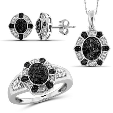 JewelersClub 1.00 Carat T.W. Black And White Diamond Sterling Silver 3 Piece Jewelry Set
