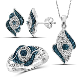 JewelonFire 1/4 Carat T.W. Blue And White Diamond Sterling Silver 3 Piece Jewelry Set