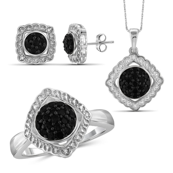 JewelonFire 1.00 Carat T.W. Black And White Diamond Sterling Silver 3 Piece Jewelry Set