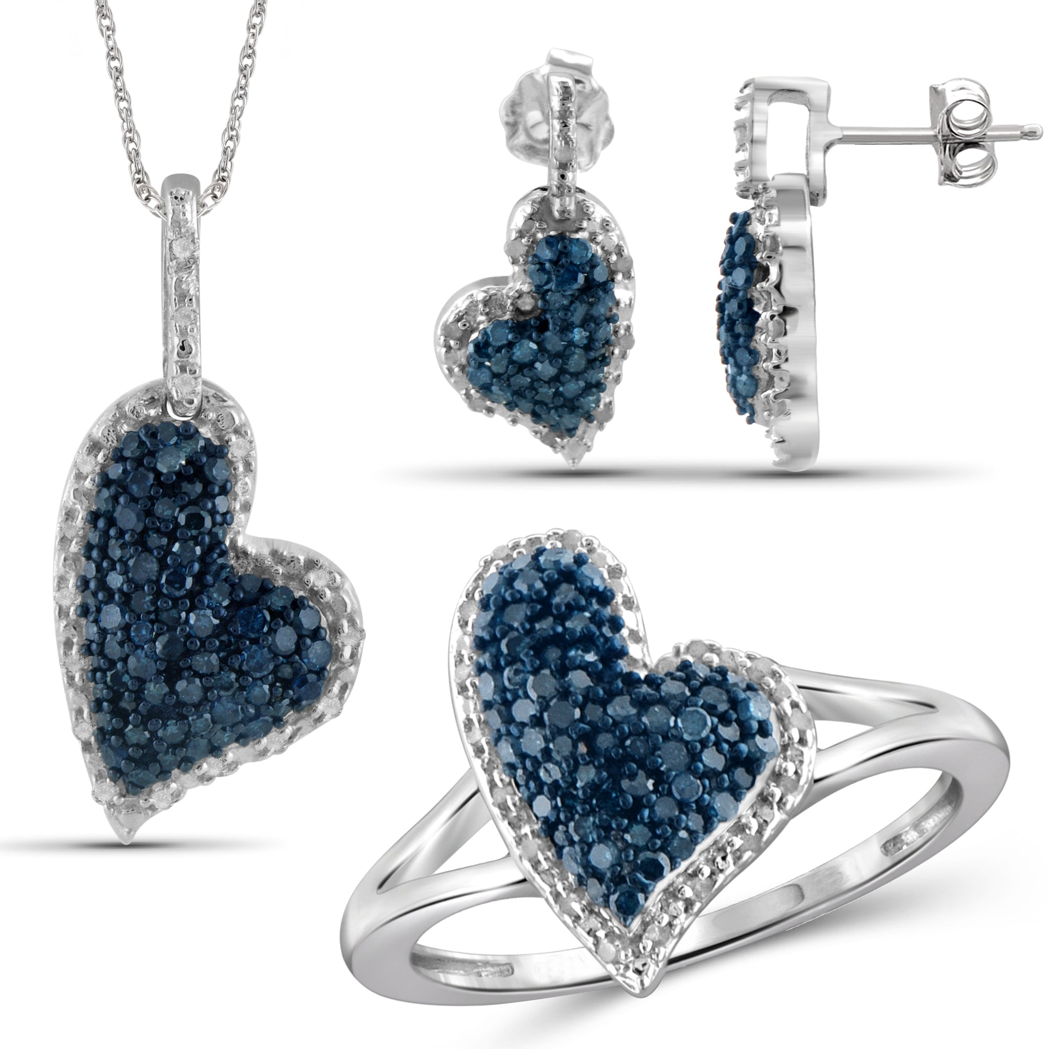 JewelonFire 1.00 Carat T.W. Blue And White Diamond Sterling Silver 3 Piece Heart Jewelry Set