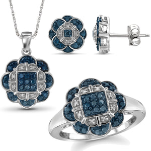 JewelonFire 1.00 Carat T.W. Blue And White Diamond Sterling Silver 3 Piece Jewelry Set