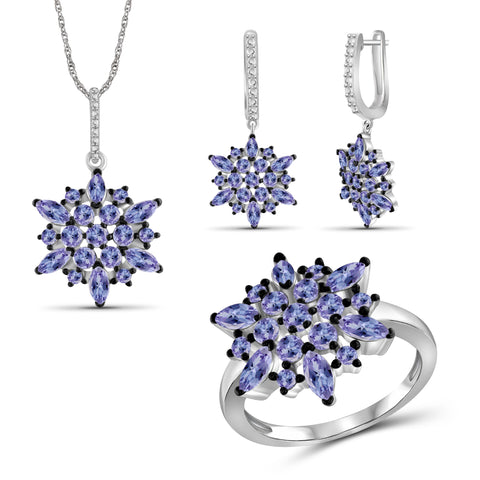 JewelonFire 6.20 Carat T.G.W. Genuine Tanzanite Sterling Silver 3 Piece Jewelry Set - Assorted Colors