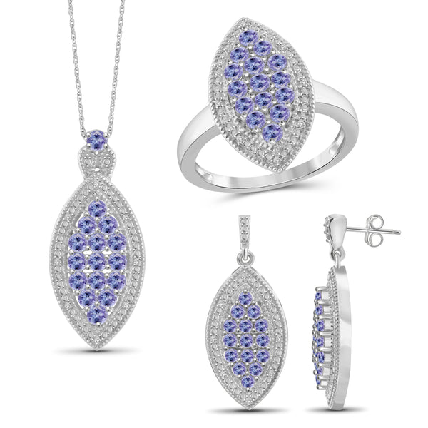 JewelonFire 2.90 Carat T.G.W. Tanzanite And 1/10 Carat T.W. White Diamond Sterling Silver 3 Piece Jewelry Set - Assorted Colors