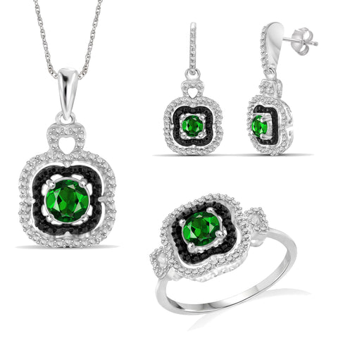 JewelersClub 1.50 Carat T.G.W. Chrome Diopside And 1/20 Carat T.W. White Diamond Sterling Silver Cluster 3 Piece Jewelry Set - Assorted Colors