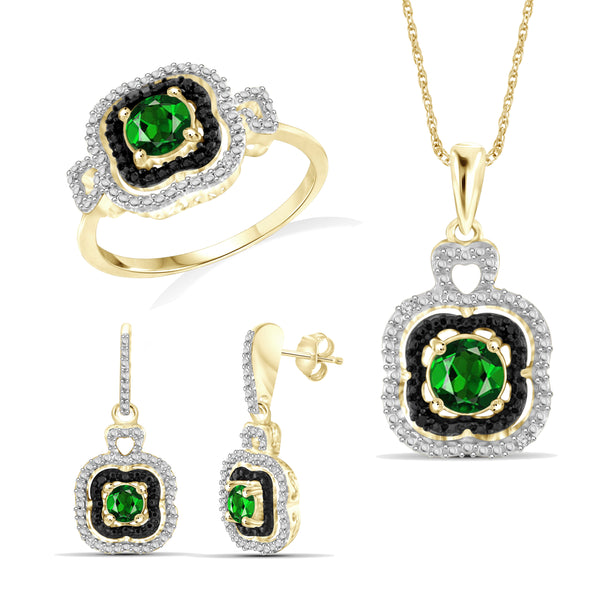 JewelonFire 1.50 Carat T.G.W. Chrome Diopside And 1/20 Carat T.W. White Diamond Sterling Silver Cluster 3 Piece Jewelry Set - Assorted Colors