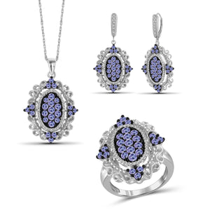 JewelonFire 5.00 Carat T.G.W. Tanzanite And 1/20 Carat T.W. White Diamond Sterling Silver 3 Piece Jewelry Set - Assorted Colors