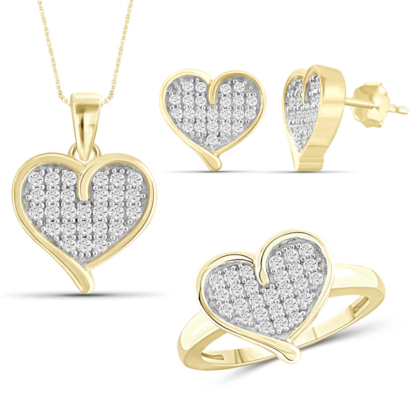 JewelersClub 1.00 Carat T.W. White Diamond Sterling Silver 3 Piece Heart Jewelry Set - Assorted Colors