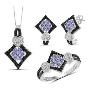 JewelonFire 1.10 Carat T.G.W. Tanzanite And 1/20 Carat T.W. Black & White Diamond Sterling Silver 3 Piece Jewelry Set - Assorted Colors