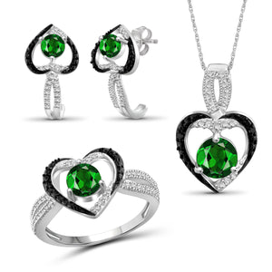 JewelersClub 2.10 Carat T.G.W. Chrome Diopside And 1/20 Carat T.W. Black & White Diamond Sterling Silver 3 Piece Jewelry Set - Assorted Colors