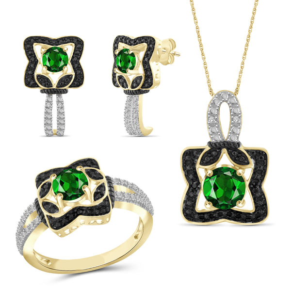 JewelonFire 2.10 Carat T.G.W. Chrome Diopside And  1/20 Carat T.W. Black & White Diamond Sterling Silver 3 Piece Jewelry Set - Assorted Colors