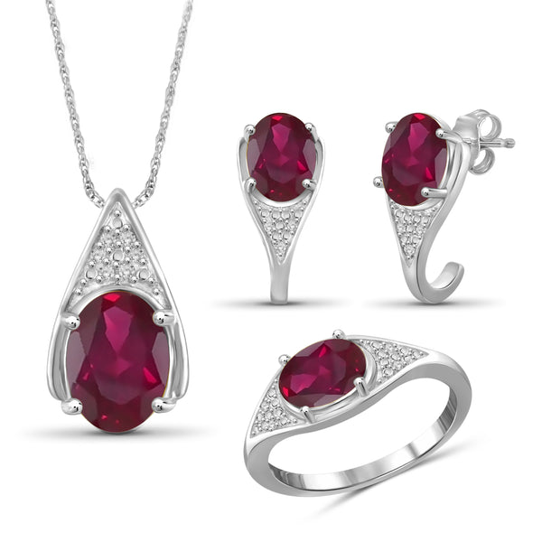 JewelersClub 7.70 Carat T.G.W. Ruby And 1/20 Carat T.W. White Diamond Sterling Silver 3 Piece Jewelry Set - Assorted Colors