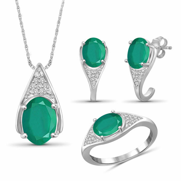 JewelonFire 5.80 Carat T.G.W. Emerald And 1/20 Carat T.W. White Diamond Sterling Silver 3 Piece Jewelry Set - Assorted Colors