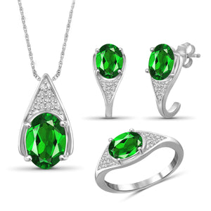 JewelersClub 4.80 Carat T.G.W. Chrome Diopside And 1/20 Carat T.W. White Diamond Sterling Silver 3 Piece Jewelry Set - Assorted Colors