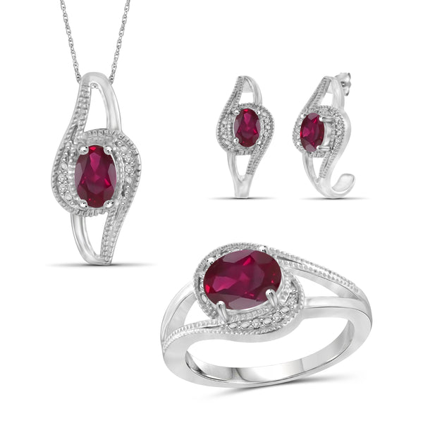 JewelonFire 3.30 Carat T.G.W. Ruby And 1/20 Carat T.W. White Diamond Sterling Silver 3 Piece Jewelry Set - Assorted Colors