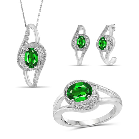 JewelersClub 2.85 Carat T.G.W. Chrome Diopside And 1/20 Carat T.W. White Diamond Sterling Silver 3 Piece Jewelry Set - Assorted Colors