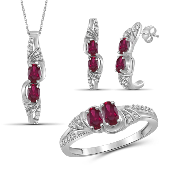 JewelersClub 2.00 Carat T.G.W. Ruby And 1/20 Carat T.W. White Diamond Sterling Silver 3 Piece Jewelry Set - Assorted Colors