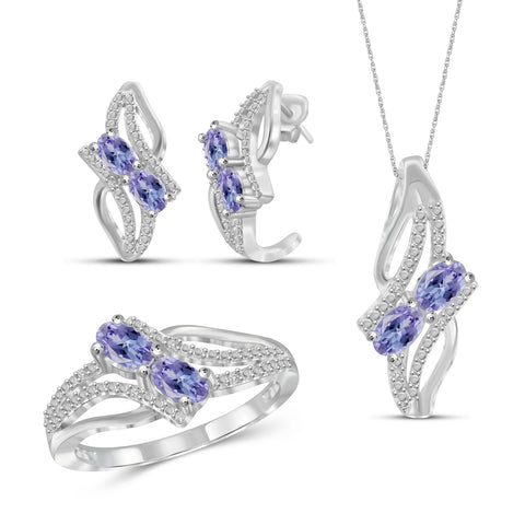 JewelonFire 1.90 Carat T.G.W. Tanzanite And 1/20 Carat T.W. White Diamond Sterling Silver 3 Piece Jewelry Set - Assorted Colors