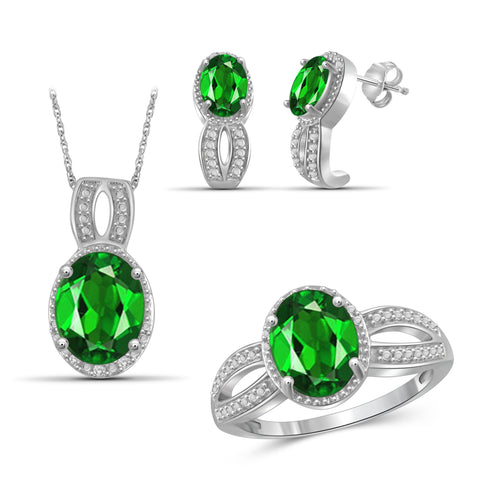 JewelersClub 6.20 Carat T.G.W. Chrome Diopside And 1/20 Carat T.W. White Diamond Sterling Silver 3 Piece Jewelry Set - Assorted Colors