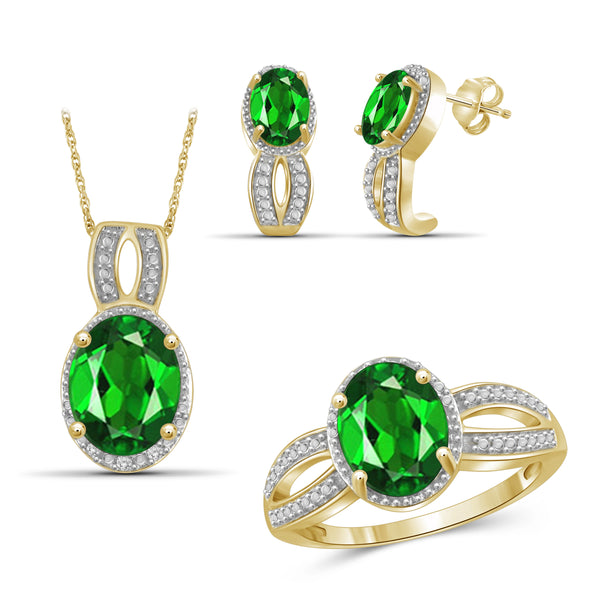JewelonFire 6.20 Carat T.G.W. Chrome Diopside And 1/20 Carat T.W. White Diamond Sterling Silver 3 Piece Jewelry Set - Assorted Colors
