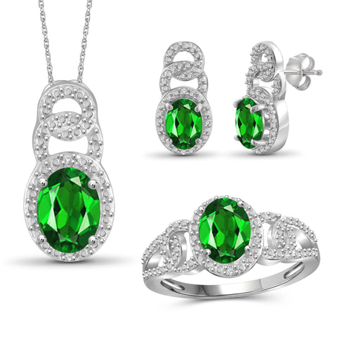 JewelersClub 4.00 Carat T.G.W. Chrome Diopside And 1/20 Carat T.W. White Diamond Sterling Silver 3 Piece Jewelry Set - Assorted Colors