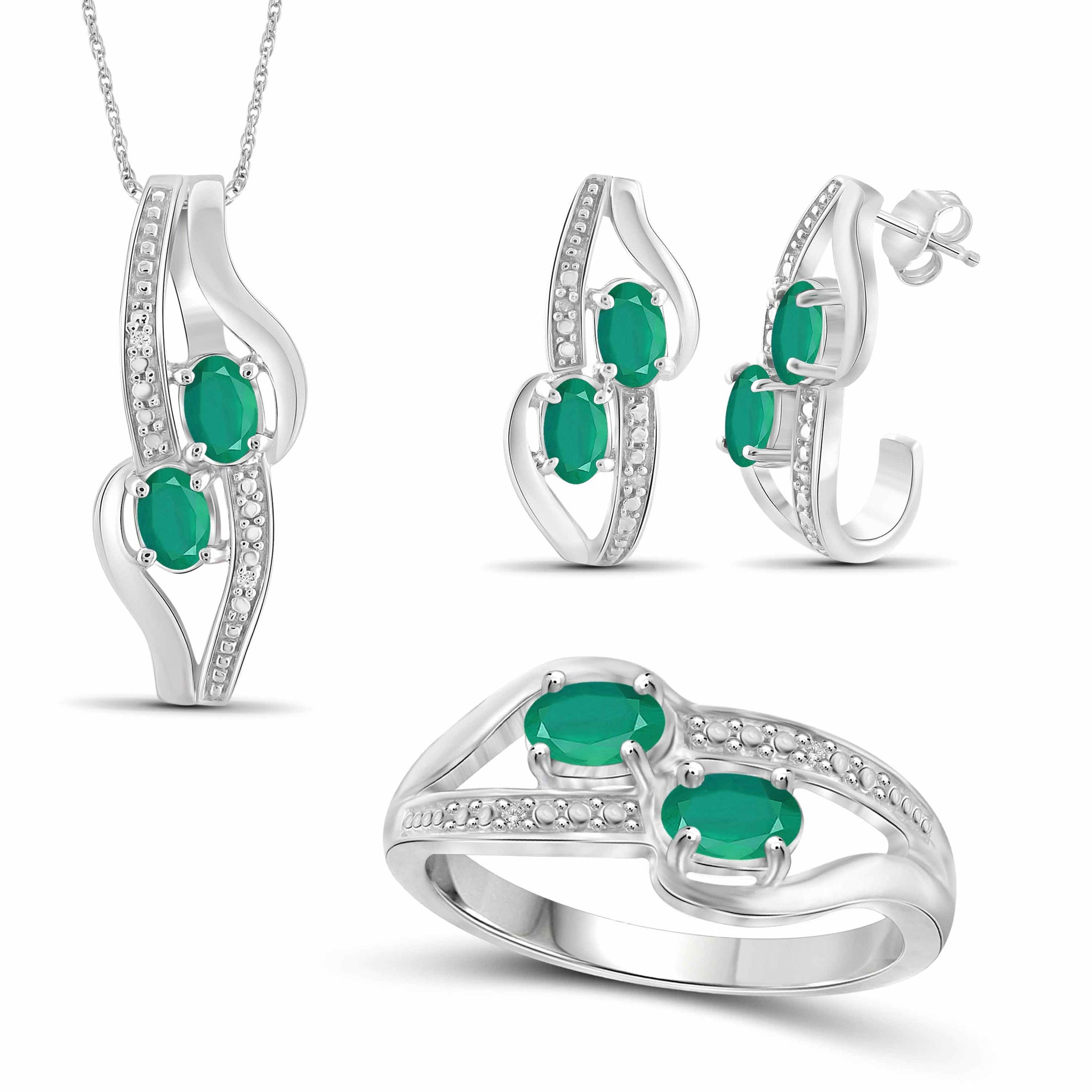 JewelonFire 1.80 Carat T.G.W. Emerald And 1/20 Carat T.W. White Diamond Sterling Silver 3 Piece Jewelry Set - Assorted Colors