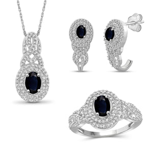 JewelonFire 2.70 Carat T.G.W. Sapphire And 1/20 Carat T.W. White Diamond Sterling Silver 3 Piece Jewelry Set - Assorted Colors