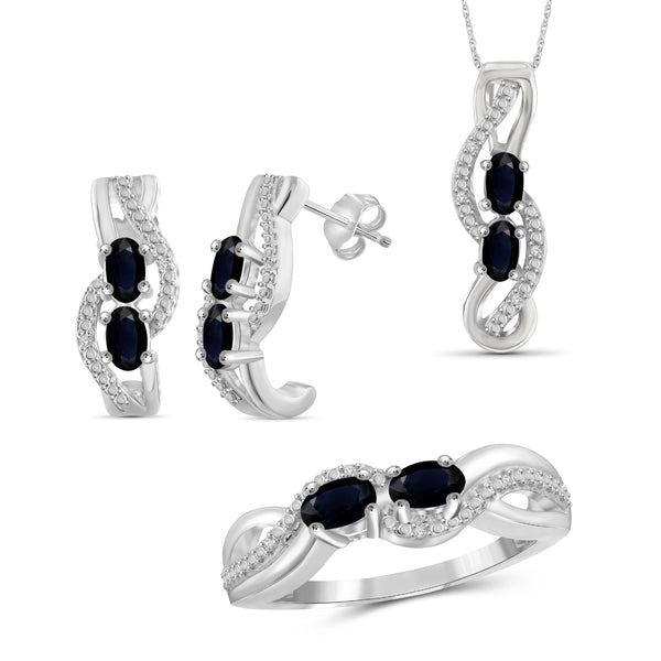 JewelonFire 2.50 Carat T.G.W. Sapphire And 1/20 Carat T.W. White Diamond Sterling Silver 3 Piece Jewelry Set - Assorted Colors