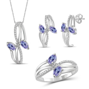 JewelersClub 1.90 Carat T.G.W. Tanzanite And 1/20 Carat T.W. White Diamond Sterling Silver 3 Piece Jewelry Set - Assorted Colors