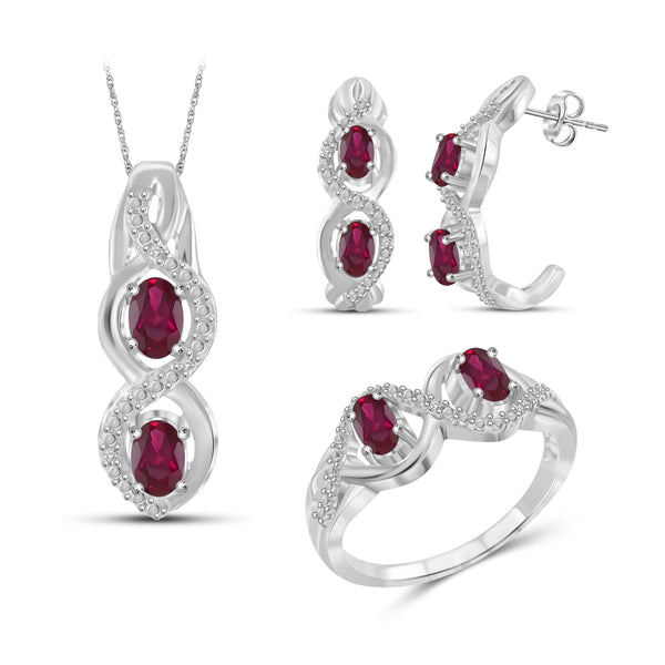 JewelonFire 2.00 Carat T.G.W. Ruby And 1/20 Carat T.W. White Diamond Sterling Silver 3 Piece Jewelry Set - Assorted Colors