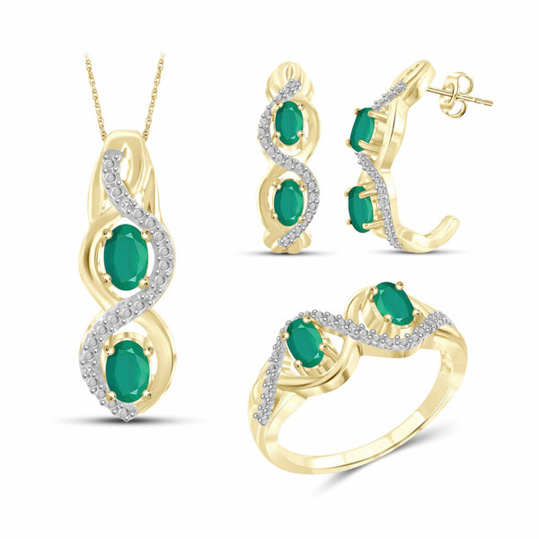 JewelersClub 1.80 Carat T.G.W. Emerald And 1/20 Carat T.W. White Diamond Sterling Silver 3 Piece Jewelry Set - Assorted Colors
