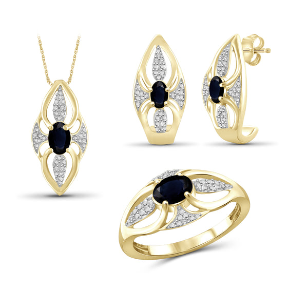 JewelonFire 1.90 Carat T.G.W. Sapphire And 1/20 Carat T.W. White Diamond Sterling Silver 3 Piece Jewelry Set - Assorted Colors
