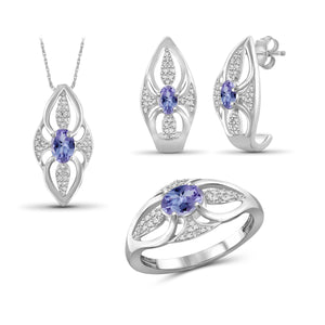 JewelonFire 1.30 Carat T.G.W. Tanzanite And 1/20 Carat T.W. White Diamond Sterling Silver 3 Piece Jewelry Set - Assorted Colors
