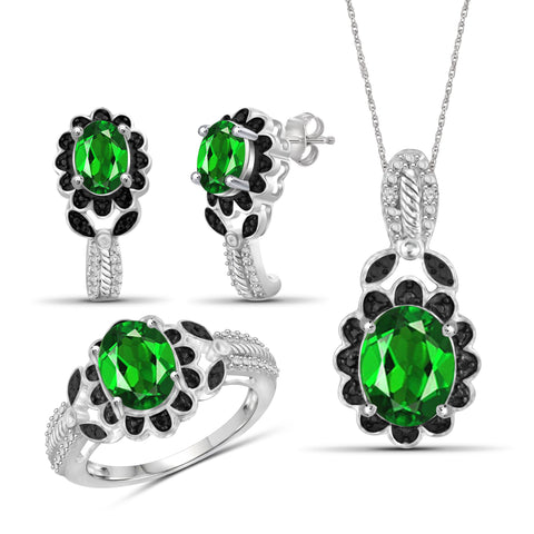 JewelersClub 4.70 Carat T.G.W. Chrome Diopside And 1/20 Carat T.W. Black & White Diamond Sterling Silver 3 Piece Jewelry Set - Assorted Colors