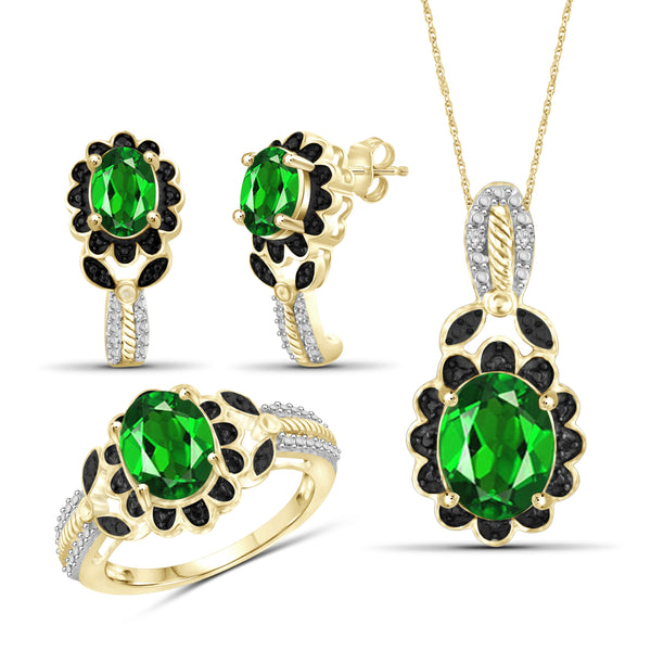 JewelonFire 4.70 Carat T.G.W. Chrome Diopside And 1/20 Carat T.W. Black & White Diamond Sterling Silver 3 Piece Jewelry Set - Assorted Colors