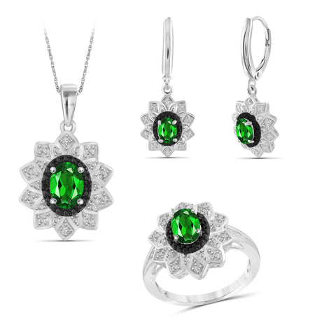JewelersClub 2.70 Carat T.G.W. Chrome Diopside And 1/10 Carat T.W. Black & White Diamond Sterling Silver 3 Piece Jewelry Set - Assorted Colors