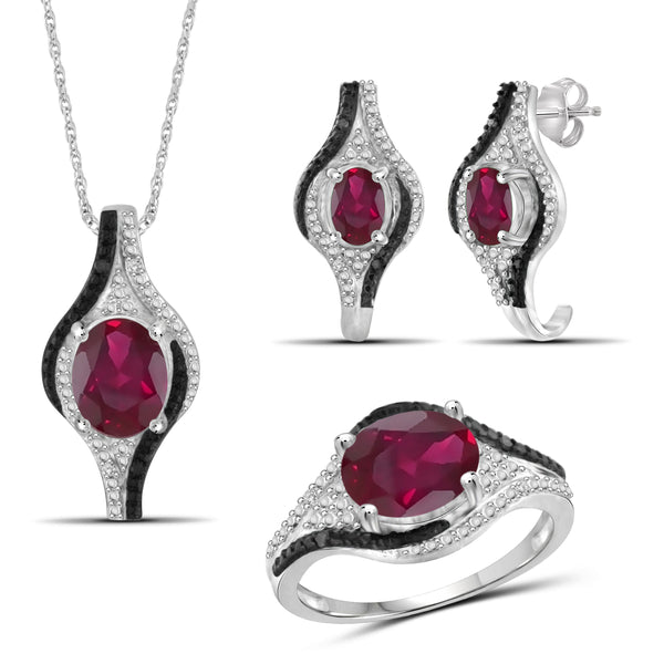 JewelonFire 5.90 Carat T.G.W. Ruby And 1/10 Carat T.W. Black & White Diamond Sterling Silver 3 Piece Jewelry Set - Assorted Colors