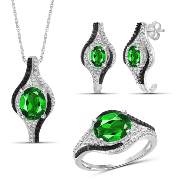 JewelonFire 4.20 Carat T.G.W. Chrome Diopside And 1/10 Carat T.W. Black & White Diamond Sterling Silver 3 Piece Jewelry Set - Assorted Colors
