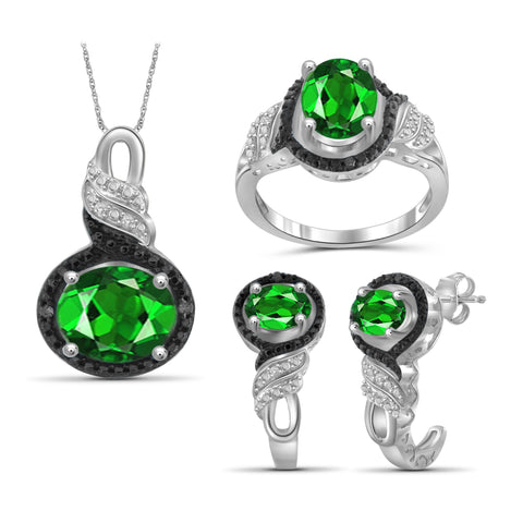JewelersClub 4.20 Carat T.G.W. Chrome Diopside And 1/20 Carat T.W. Black & White Diamond Sterling Silver 3 Piece Jewelry Set - Assorted Colors