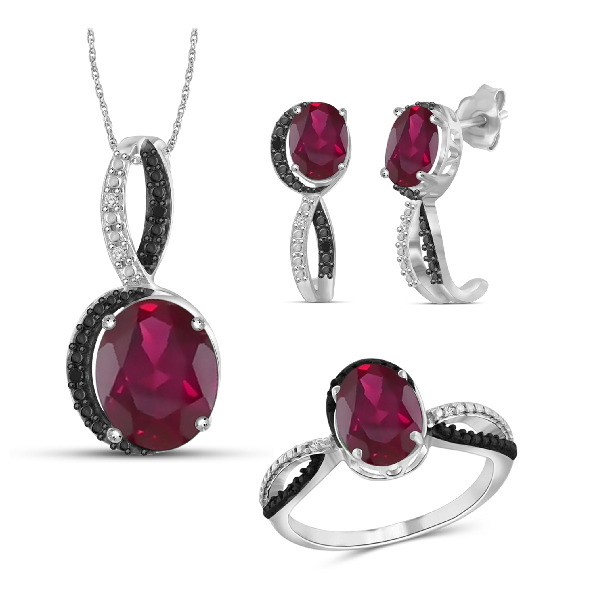 JewelonFire 6.70 Carat T.G.W. Ruby And 1/20 Carat T.W. Black & White Diamond Sterling Silver 3 Piece Jewelry Set - Assorted Colors