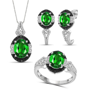 JewelersClub 4.70 Carat T.G.W. Chrome Diopside And 1/10 Carat T.W. Black & White Diamond Sterling Silver 3 Piece Jewelry Set - Assorted Colors