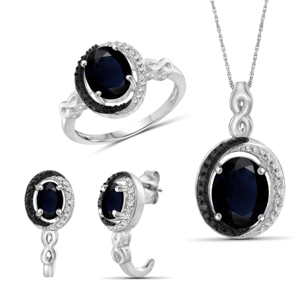 JewelonFire 5.20 Carat T.G.W. Sapphire And 1/20 Carat T.W. Black & White Diamond Sterling Silver 3 Piece Jewelry Set - Assorted Colors